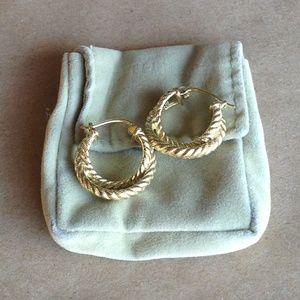 Judith Ripka 14K Clad Sterling Twist Hoop Earrings